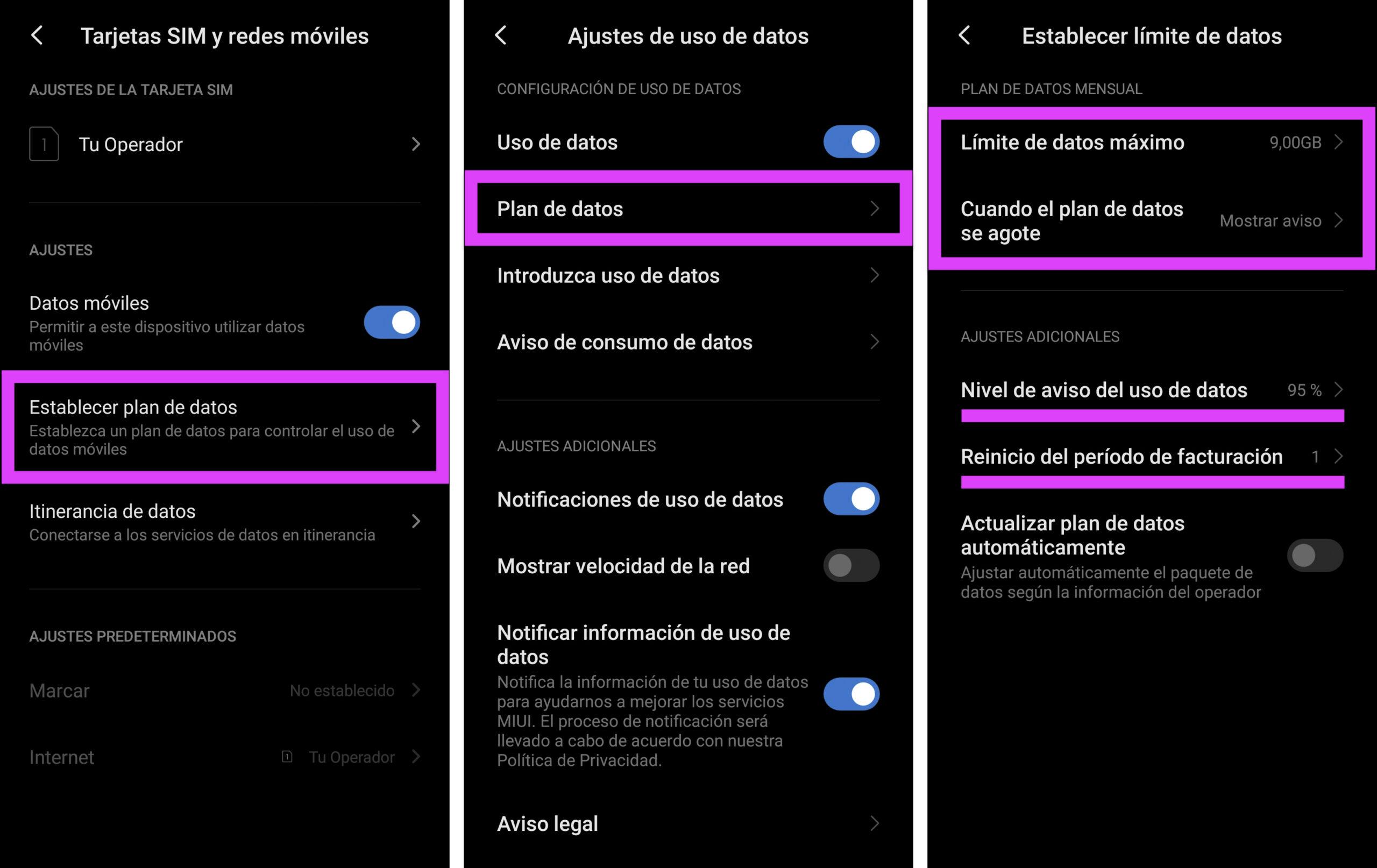 Establecer plan de datos mensual en Android